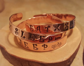 Eat Sleep JEEP hand stamped and polished copper cuff bracelet OIIIIIIIO makes a GREAT gift