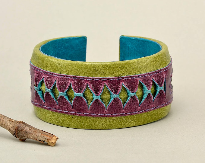 Featured listing image: Colorful bracelet, green leather cuff, bulky bangle, boho chic jewelry, wide hand band, one of a kind cuff, artisan jewelry, bohemian cuff