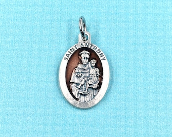 St of Lost Items Horses St Anthony Medal,Rosary Medal,Holy Medal,Catholic Medal,Rosary Part,St Anthony of Padua Medal,Organza pouch