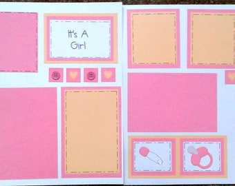 Baby Girl two pre-made scrapbook pages by Juliet 12x12