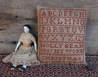 Molly Bean Christmas Sampler...Primitive PAPER Cross Stitch Pattern By The Humble Stitcher