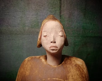 Man in Brown Hat II/ Ceramic Colorful Unique Standing Sculpture/ Male Figure