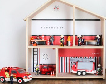 "Decal ""Fire Station"" for IKEA dollhouse Flisat (1W-SH03-04) - DIY Doll's house - Furniture not included"