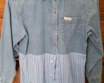 denim and blue stripe shirt