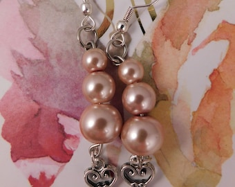 Pink Glass bead Key Earrings