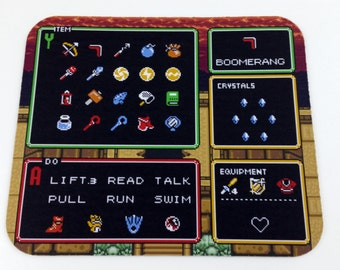 SNES Mouse Pad - Zelda: Link to the Past Item Screen