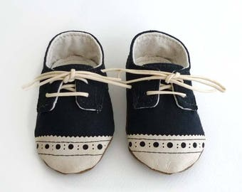 Baby Boy or Girl Shoes Black Canvas with Brogued Leather Soft Sole Shoes Oxford Wingtips Wing tips