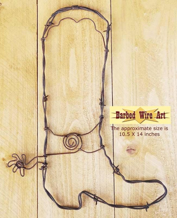 Cowboy Boot Handmade metal decor barbed wire art country
