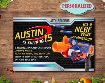 Nerf Gun Invitation / Nerf Gun Birthday / Nerf Gun Party / Nerf Gun Invitations / Nerf Gun Printable Invitations / Nerf Gun Birthday Invite