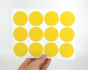40mm Round Yellow Label Stickers - Large peal and stick tags - Made of matte paper - Great for DIY rubber stamped packaging labels