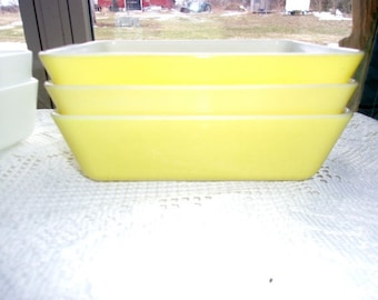 Pyrex Primary Yellow 503 Refrigerator Dishes - Excellent! ~ Free Shipping