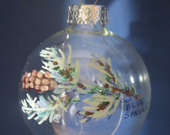 Glass Christmas ORNAMENT--Blue Spruce Hand painted 1041