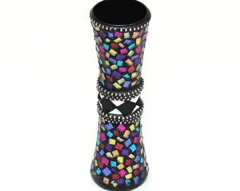 Mosaic Bud Vase - Colorful / Blingy / Glitter Glass / Artisan