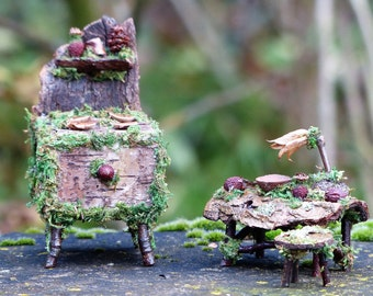 Fairy Miniature Kitchen Set - Fairy House, Miniature Gift, Diorama, One of a Kind, Gifts for Her, Gifts for Him, Rustic Decor, Faery