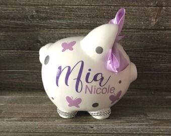 Butterfly Piggy Bank, Personalized Piggy Bank, Polka Dot Bank, Baby Girl Piggy Bank, Newborn Bank Piggy Bank