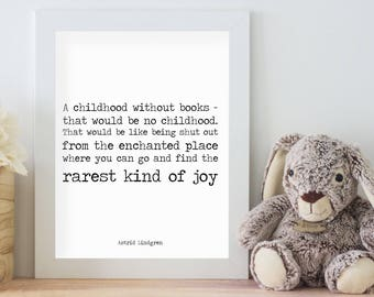 Playroom Decor, Astrid Lindgren Art Print, Pippi Longstocking Quote Print, Nursery Art, Classroom Decor, a childhood without books