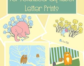 Personalized Alphabet Print - Custom Nursery Print Kids Wall Art - Baby Name Art Print - You Choose The Name - by strawberryluna