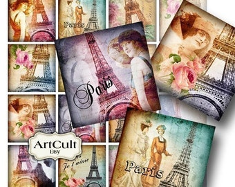 """Printable Digital Collage Sheet OH PARIS 2""""x2"""" size vintage french style downloadable images for magnets pendants paper greeting cards tags"""