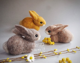 Needle felted BUNNY SCULPTURE by The Lady Moth - cute needle felted rabbit - UK