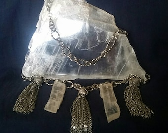 Raw Crystal Jewelry / Selenite Necklace STATEMENT Necklace / Quartz Crystal Pendant / Crystal Moon Goddess Jewelry / Selenite Gift For Her