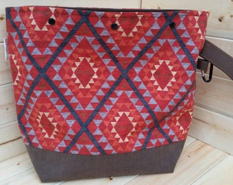 Southwest Brown XL Canvas Sweater Bag Snap Closure Handmade