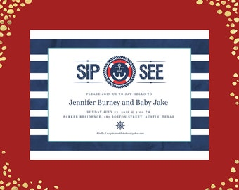 Qty. 25 Nautical Baby Shower Nautical Sip and See Baby Shower Sip-n-See Invitations