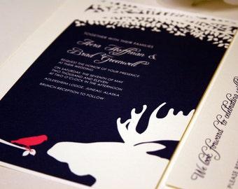 Bird and Moose Wedding Invitation, Navy Blue Pocketfold, Alaskan Wedding, Outdoor, Pink, Destination Country, Farm Invite, Woodsy, Hunter