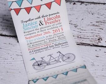 tandem bike wedding invitations |  custom tandem invites handmade in Canada by empireinvites.ca