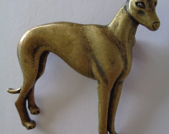 Vintage Signed JJ Bronze pewter Standing Greyhound Brooch/Pin