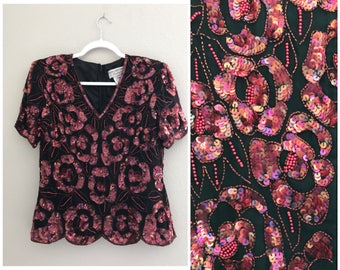 Pink/ red floral sequin top , holiday sequin top, vintage sequin top, evening top, sequin party top , beaded top, floral sequin