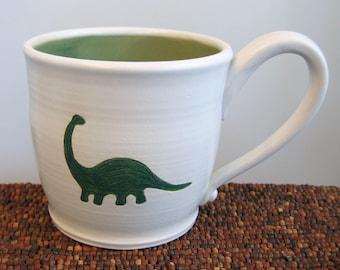 Brontosaurus Mug - Large Dinosaur Stoneware Pottery Coffee Mug 16 oz.