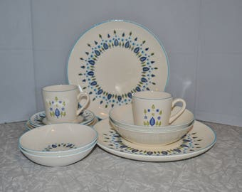 Marcrest Swiss Alpine Swiss Chalet 12 Piece Set Service for 2 ~ Turquoise Plates ~ Mid Century Dinnerware