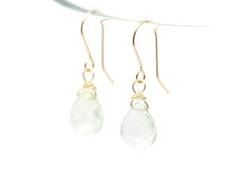 Green Amethyst solid gold or sterling silver earrings.