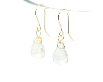 Green Amethyst solid gold earrings