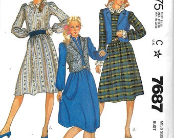 McCall's 7687 Misses Dress And Vest Sewing Pattern, 8, 10 & 12, UNCUT