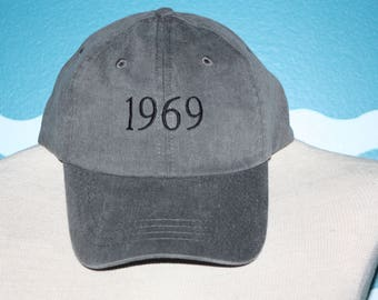 Custom Year Embroidered Baseball Hat - 1969 Embroidered Hat - BIrthday Hat - Year your where born - Birth Year on a Embroidered Baseball Cap