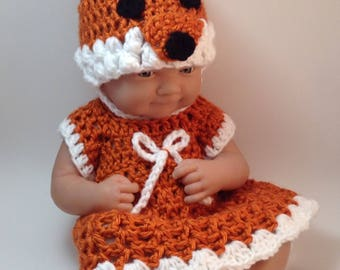 14 Inch Doll clothes,9 inch Doll clothes, Fox, dress set,Gifts for kids, doll outfits.Included are Hat ,Dress and shoes
