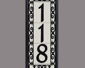 House Number Address Tiles, Framed -Spanish Scroll Design -Vertical Installation
