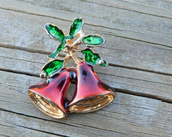 Vintage Christmas Bells and Holly Pin Or Brooch Costume Jewelry