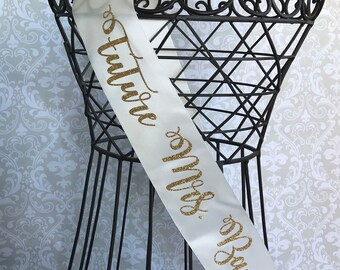 Curly Cursive Future Mrs Bridal sash great for bachelorette and bridal showers