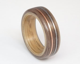 Bent Wood Ring Walnut and Oak with Copper and Guitar String Inlays Hand Made In Any UK or US Size.  Optional Inscription or Engraving