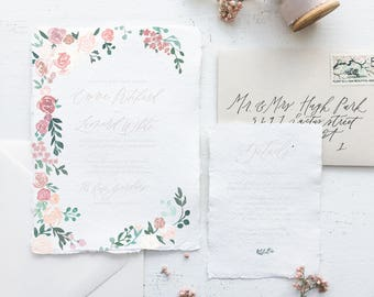 Blush and Pink Tones Floral Foliage Border Watercolor Wedding Invitation // Available in Letterpress or Gold Foil