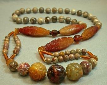 Vintage Chinese Amber Bead Knotted Necklace Carved Shou Eternity Symbol ,Vintage Carved Serpentine, Wood Lace Agate,Leopard Skin Jasper