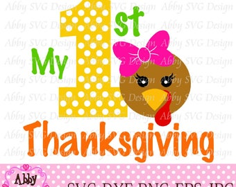My 1st/First Thanksgiving Girl Turkey Cut File eps,png,dxf and svg file for the Cutting Machines NO:0003