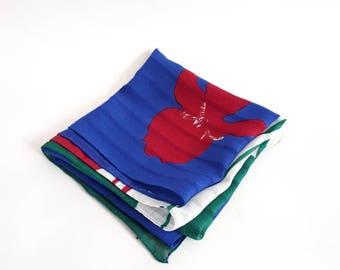 Jacqmar of London 1980's vintage scarf vintage tulip print scarf vintage square scarf red ladies vintage scarf