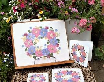 Large Placemat, Floral Placemat, Gift for Mum, Gift for Nan, Birthday Gift Wife, 4th Anniversary Gift Wife,  English Pressed Flower PRINT