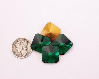 Swarovski 4650 Emerald GF 14MM Vintage Stone (1 piece)