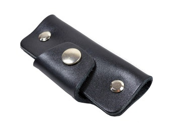Handmade Black Leather Key Holder Key Wallet.