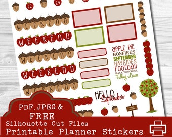 Apple Date Covers, September Date Covers, October Date Covers, Erin Condren Planner Stickers, Weekend Banners, Deco Stickers, pdf Stickers