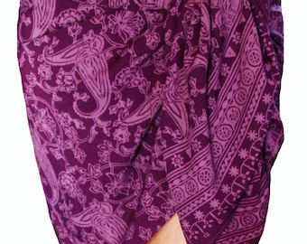 Violet Batik Sarong Womens Clothing Purple Fantasy Sarong Skirt Beach Cover Up Beach Sarong Pareo Short or Long Wrap Skirt - Womens Swimwear